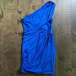 Gianni Bini Asymmetrical One Shoulder Blue Dress